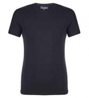Хлопковая футболка с круглым вырезом Bread&Boxers. Цвет: синий