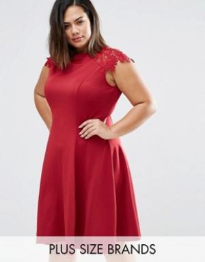 Praslin Короткое приталенное платье с кружевными рукавами Plus. Цвет: красный