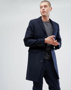 Jack Wills Темно-синее пальто Burchale (Изготовлено в Великобритании. Цвет: темно-синий