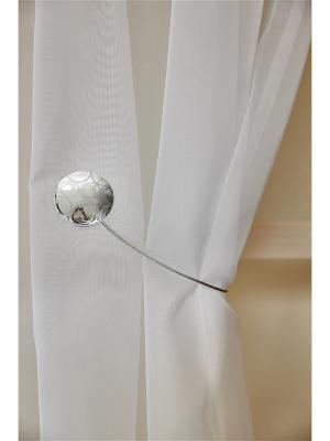 Магнитная клипса с тросом (30 см) Круги хром блестящий IZKOMODA. Цвет: серебристый