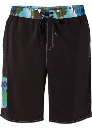 Мужские плавки-шорты (черный/синий/зеленый) bonprix. Цвет: черный/синий/зеленый