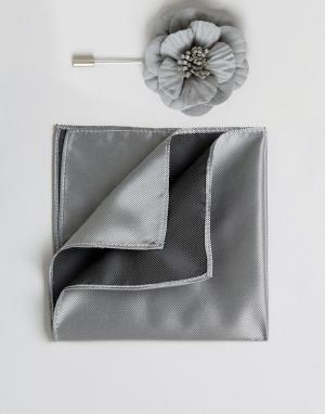 Devils Advocate Платок для пиджака и булавка галстука с цветочной отделкой. Цвет: серый