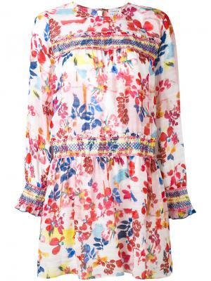 Платье с цветочным принтом Tanya Taylor. Цвет: белый