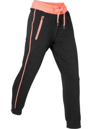 Спортивные трикотажные брюки 7/8 (черный/меланжевый лососевый неон) bonprix. Цвет: черный/меланжевый лососевый неон