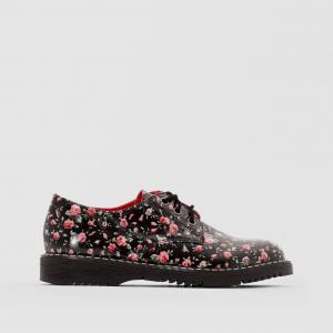 Ботинки-дерби лакированные с цветочным рисунком La Redoute Collections. Цвет: черный наб. рисунок