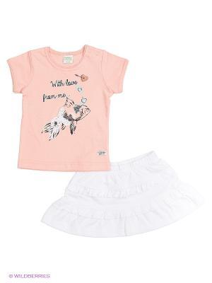 Комплект одежды Teidem. Цвет: персиковый, белый