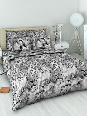Комплект постельного белья из бязи Евро Василиса. Цвет: серый, белый, черный
