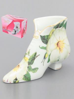 Салфетница-туфелька Белый шиповник Elan Gallery. Цвет: зеленый, белый