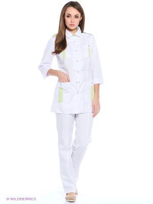 Халат медицинский Med Fashion Lab. Цвет: белый, салатовый