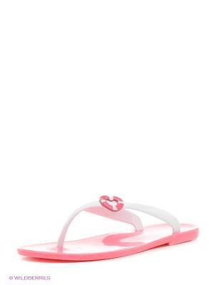 Шлепанцы Mon Ami. Цвет: белый, розовый