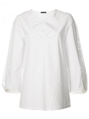 Cropped sleeves blouse Josie Natori. Цвет: белый