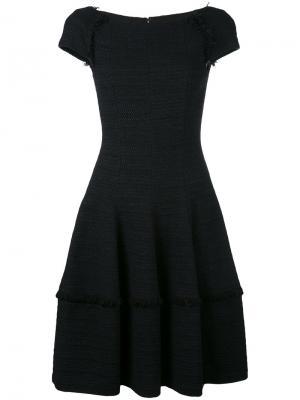 Платье шифт с бахромой Talbot Runhof. Цвет: чёрный