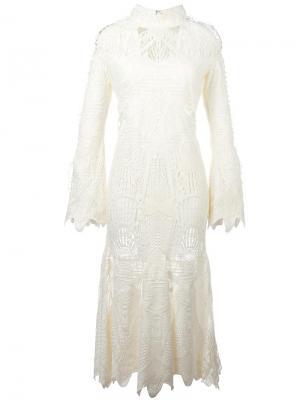 Кружевное облегающее платье Jonathan Simkhai. Цвет: белый