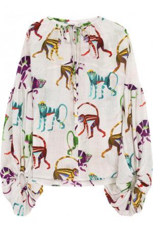 Шелковая блуза свободного кроя с принтом Stella Jean. Цвет: разноцветный
