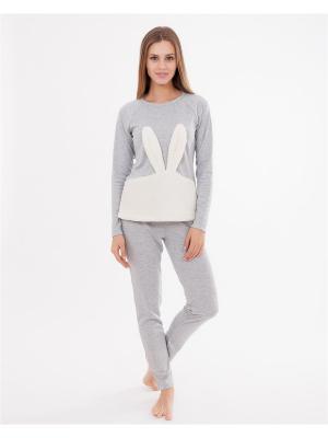 Комплект одежды: лонгслив, брюки Mark Formelle. Цвет: серый меланж, молочный