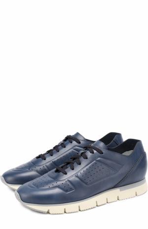 Кожаные кроссовки на шнуровке Santoni. Цвет: темно-синий