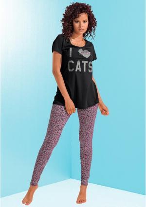 Пижама Bad Cat. Цвет: белый+с рисунком звезды, черный+леопардовый