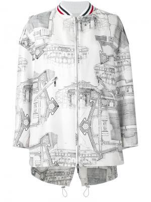 Куртка-бомбер  с принтом чертежей Moncler Gamme Rouge. Цвет: белый