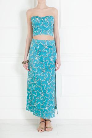 Хлопковая юбка Luisa Beccaria. Цвет: голубой