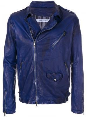 Байкерская куртка Giorgio Brato. Цвет: синий