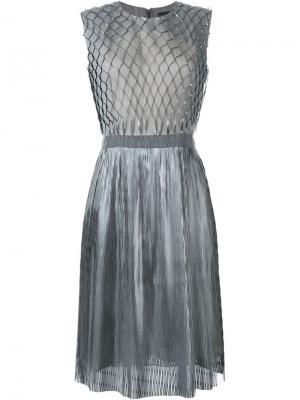 Платье без рукавов Iris Van Herpen. Цвет: металлический