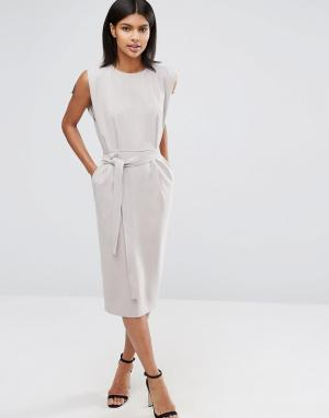 ASOS Платье миди с поясом, разрезами на рукавах и юбкой‑карандаш. Цвет: серый