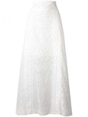 Кружевная длинная юбка Oscar de la Renta. Цвет: белый