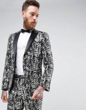 ASOS Черно-белый пиджак скинни. Цвет: черный
