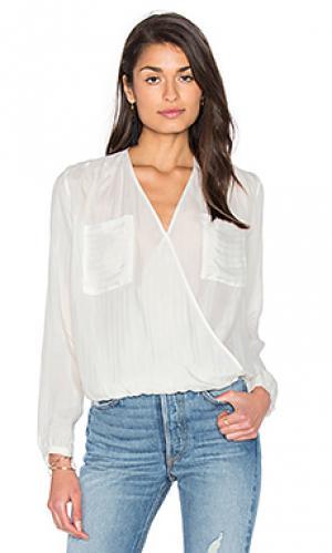 Блуза с длинным рукавом и драпировкой спереди IKKS Paris. Цвет: белый