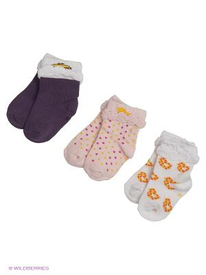 Носки для новорожденных PERA MAYA. Цвет: розовый, белый, темно-фиолетовый