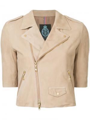 Байкерская куртка с короткими рукавами Guild Prime. Цвет: телесный