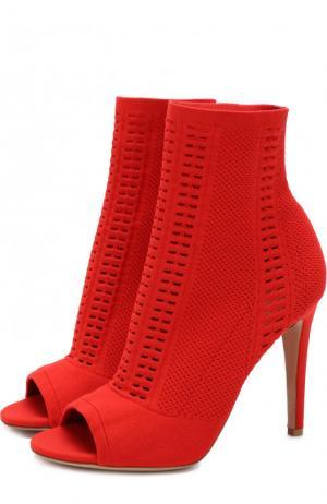 Текстильные ботильоны Vires с открытым мысом Gianvito Rossi. Цвет: красный