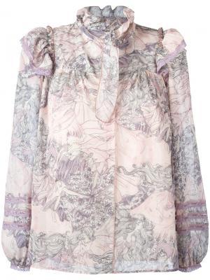 Блузка с оборками на воротнике Marc Jacobs. Цвет: розовый и фиолетовый