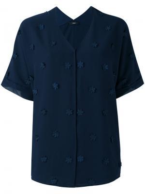 Рубашка с цветочной отделкой Steffen Schraut. Цвет: синий
