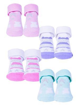 Носки, 4 пары Malerba. Цвет: салатовый, розовый, сиреневый
