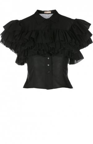 Укороченная приталенная блуза с оборками Alaia. Цвет: черный