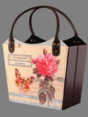 Газетница - сумочка складная Летний луг EL CASA. Цвет: желтый, розовый
