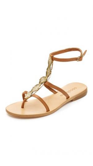 Расшитые бисером сандалии Tahiti Cocobelle. Цвет: коричневый