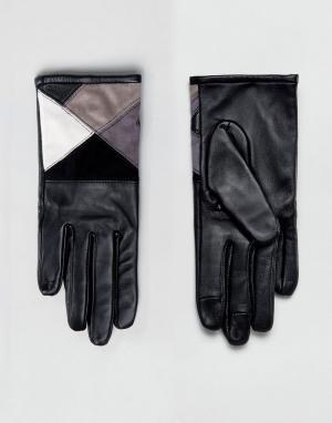 ASOS Монохромные перчатки для сенсорного экрана из кожи и замши. Цвет: мульти
