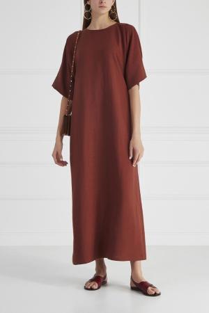 Платье из хлопка и льна Cyrille Gassiline. Цвет: шоколадный