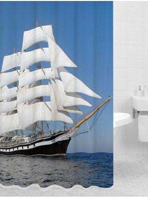 Штора для ванной SAIL (Парус) HOT Print 180*200 Bath Plus. Цвет: синий, белый