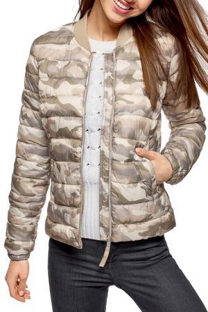 Куртка oodji. Цвет: хаки, бежевый