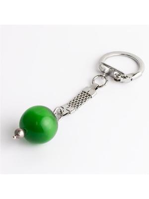 Брелок для ключей На удачу! кошачий глаз, жемчуг Револю. Цвет: зеленый