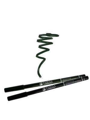 Набор деревянных косметических карандашей для глаз 2 штуки. Один черный плюс цвет 507 Темно-зеленый Parisa. Цвет: темно-зеленый