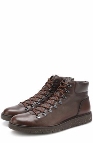 Кожаные ботинки на шнуровке Hogan. Цвет: коричневый
