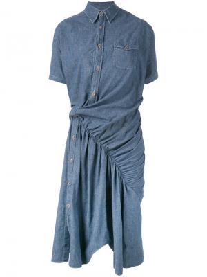 Асимметричное джинсовое платье Junya Watanabe Comme Des Garçons. Цвет: синий