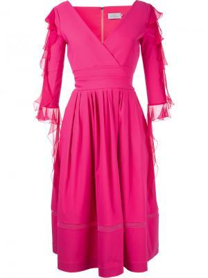 Платье с V-образным вырезом и рюшами Preen By Thornton Bregazzi. Цвет: розовый и фиолетовый