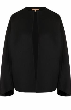 Однотонный шерстяной жакет с круглым вырезом Michael Kors Collection. Цвет: черный