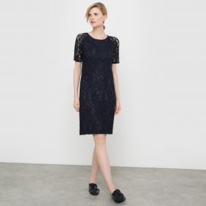 Платье прямое из кружева La Redoute Collections. Цвет: темно-синий,черный