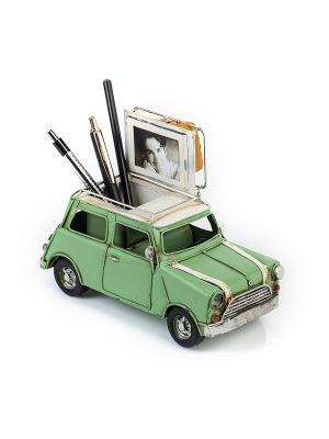 Модель Ретро Автомобиль зелёный, с фоторамкой и подставкой для ручек 4х5см PLATINUM quality. Цвет: зеленый